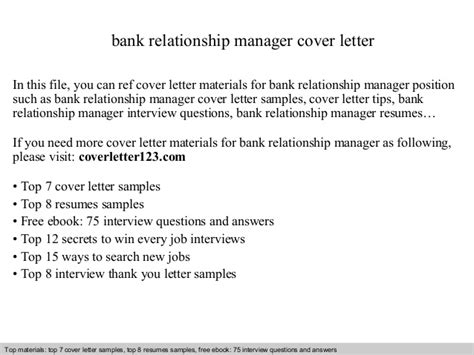 Relationship Manager Cover Letter by Bank Relationship Manager Cover Letter