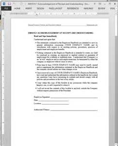 policy acknowledgement form template receipt understanding acknowledgement template emh510 1
