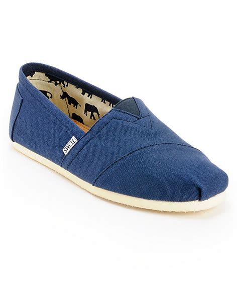 toms classics blue canvas mens slip on shoes
