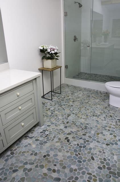rock flooring bathroom island stone perfect pebble floor modern bathroom