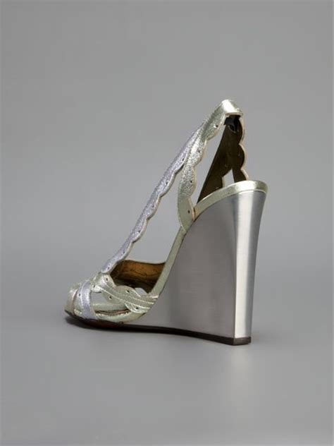Lanvin Silver by Lanvin Metallic Wedge Sandals In Silver Lyst