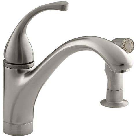 kitchen faucets kohler kohler forte single handle standard kitchen faucet with side sprayer in vibrant brushed nickel k