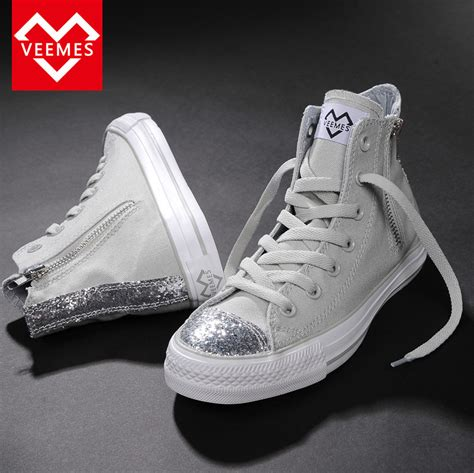 silver sequin sneakers 2015 summer high quality fashion high top canvas shoes