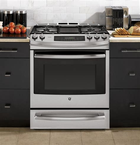 ge profile gas range ge profile series 30 quot slide in gas range with warming drawer pgs920sefss ge appliances