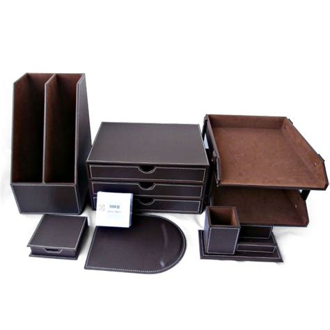 Office Desk Organizer Sets Set Of 7pcs Business Office Decor Desk Organizer Pu Leather File Cabinet Storage Ebay