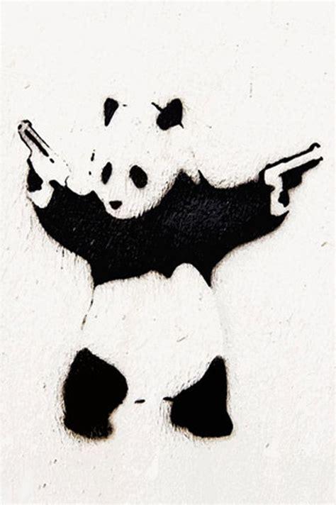 panda  guns banksy stencil street art street art