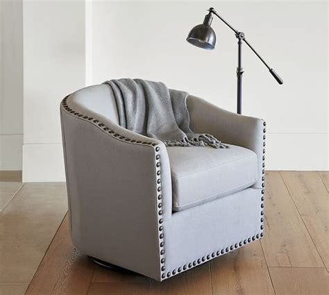 Swivel Armchairs Upholstered by Harlow Upholstered Swivel Armchair Pottery Barn