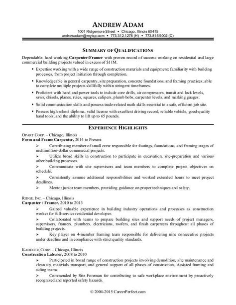 Construction Worker Resume Sle Monster Com Resume Template For Construction Laborer