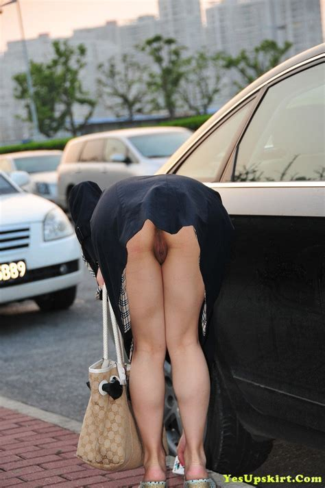 Bending Over Upskirt No Panties In Public