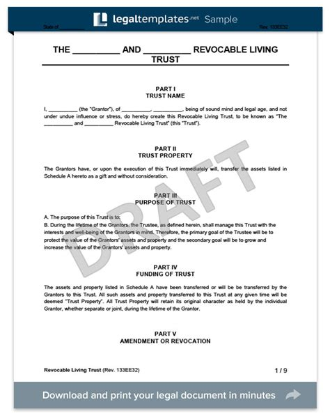 Revocable Living Trust Form Create A Revocable Living Trust Revocable Trust Template Free