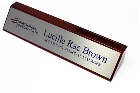 custom desk name plates business card holder desk sign solid wood desk signs