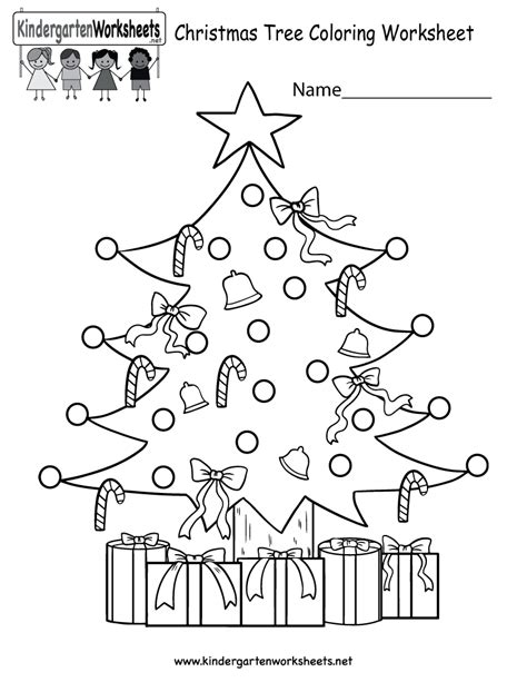 printable christmas kindergarten worksheets christmas tree coloring worksheet free kindergarten
