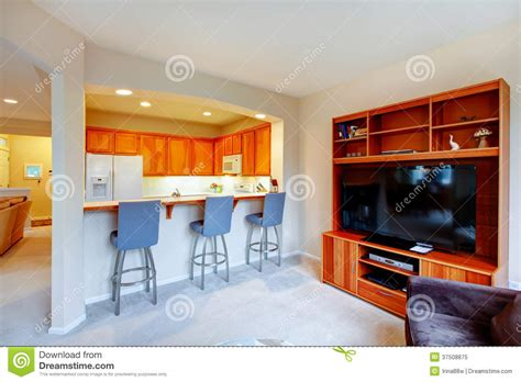 Great Design For House With An Open Wall Between Kitchen And Li Royalty Free Stock Photo Image