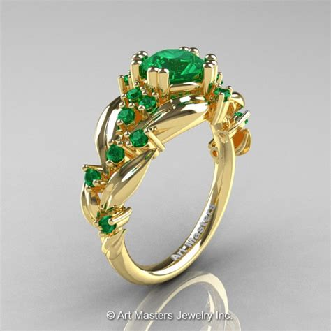nature inspired 14k yellow gold 1 0 ct emerald leaf and