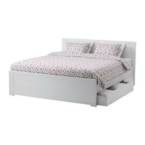 brusali bed frame with 4 storage boxes white mattress