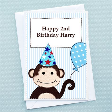 boys birthday cards to make monkey personalised boys birthday card by arnott