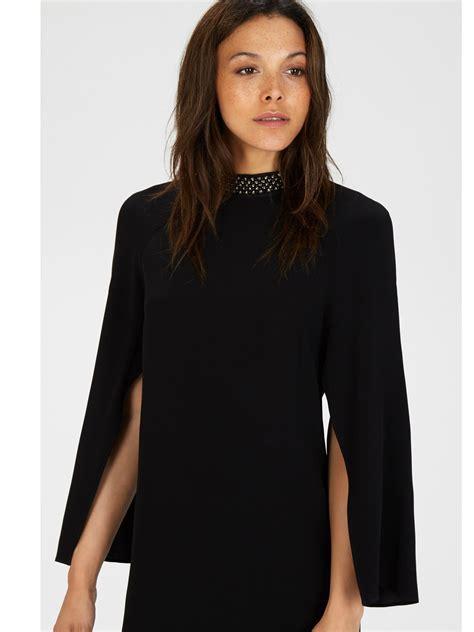 Dress Cape Sleeve 1 black embellished cape sleeve dress ivo hoogveld