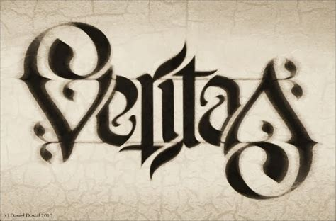 tattoo lettering ambigram design veritas ambigram design