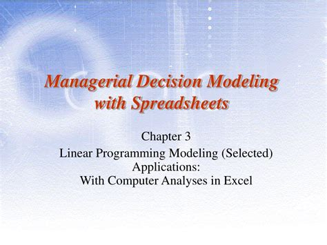 Managerial Decision Modeling With Spreadsheets by Ppt Managerial Decision Modeling With Spreadsheets