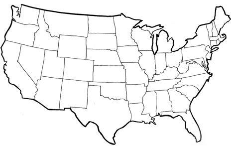usa map outline with states blank political map of the us blank map united states at