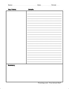 Cornell Notes Template Freeology Note Taking Template Word