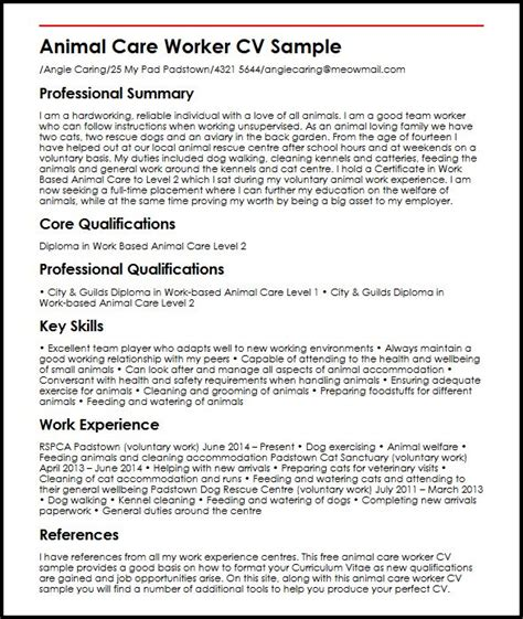 animal care worker cv sle myperfectcv