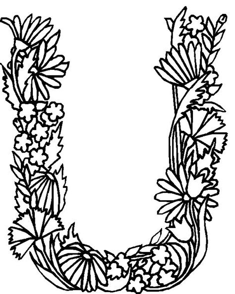 alphabet coloring pages with flowers pin coloriage enluminure lettre on pinterest
