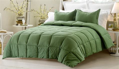 3pc Reversible Solid Emboss Striped Comforter Set Green Bedding