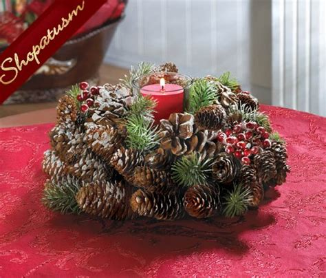 frosted pine cone wreath centerpiece holiday candle holder