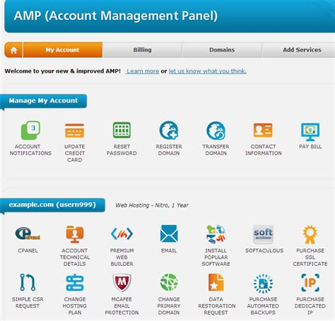 login  amp account management panel web