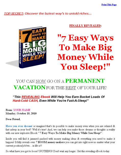 10 Ways To Make Money While Out Of Work by 7 Easy Ways To Make Big Money While You Sleep Plr Ebook