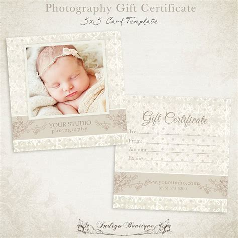 Photography Gift Certificate Photoshop Template 007 Id0105 Gift Certificate Template Photoshop