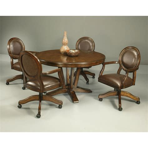 Chairs On Casters For Dining Table Pastel Furniture Coast 5 Distressed Cherry Dining Table Set With Naples Bay Caster