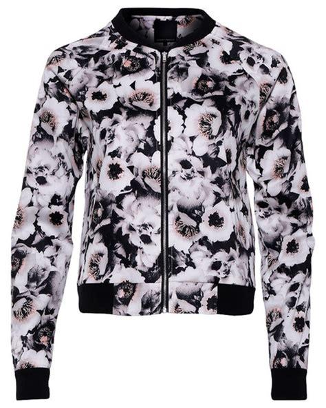print bomber jaket ans ml jacket floral flowers floral print top black white