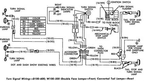 dodge d100 600 and w100 500 turn signal wiring diagram