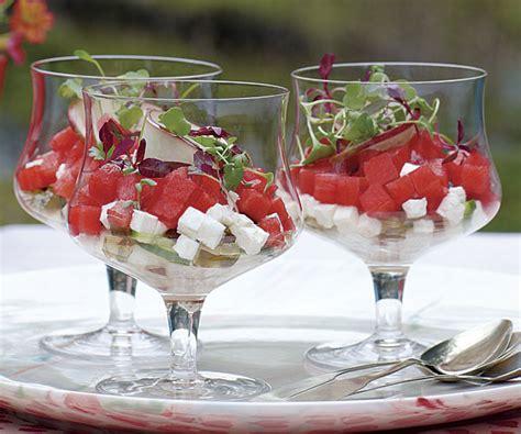 watermelon cucumber  feta verrines recipe finecooking