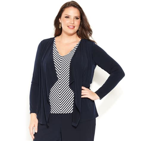 plus size draped cardigan jones new york collection plus size longsleeve draped
