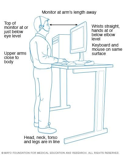 Standing Workstation What You Need To Know Mayo Clinic Standing Desk Ergonomics