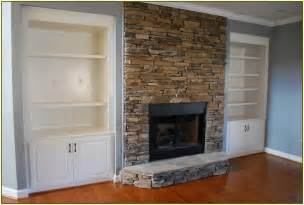 Stacked Bookshelf Stacked Stone Fireplace Home Design Ideas