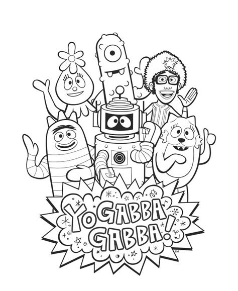yo gabba gabba coloring pages free printable yogabbagabba group coloring sheet with djlance brobee