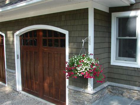Wood Stained Garage Doors Pin By Heidi On Home Exterior Materials