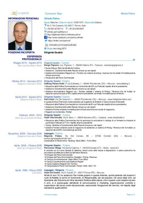 curriculum vitae en italiano europass ita