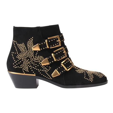 studded ankle boots chlo 233 suzanna studded suede ankle boots in black lyst