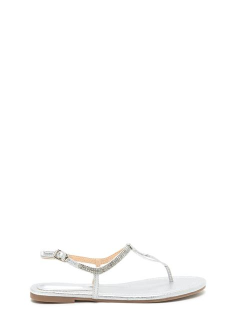 silver bling sandals bling it on metallic t sandals chagne silver