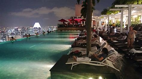 bar on top of marina bay sands marina bay sands hotel infinity pool in singapore at night