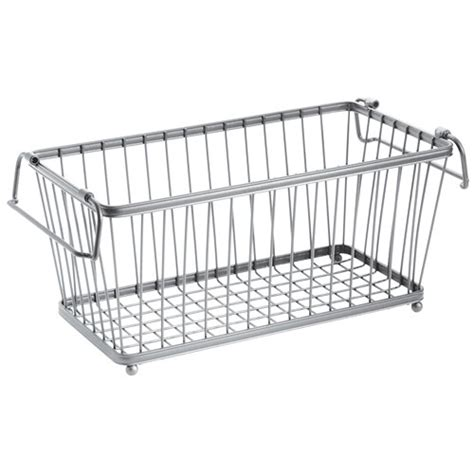 Pantry Wire Baskets by York Stackable Pantry Basket Chrome In Wire Baskets