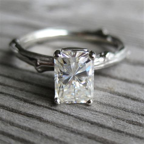 emerald cut moissanite twig engagement ring white yellow