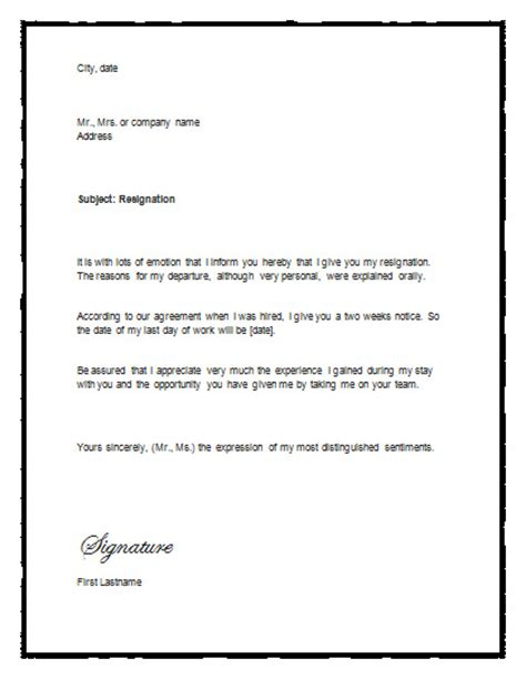 Resignation Letter Word Format by Sle Letter Of Resignation With Notice Resignation Letter