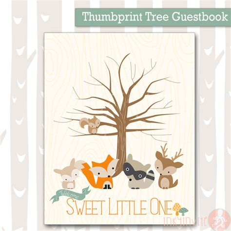 theme line forest friend sweet woodland baby shower thumbprint tree forest