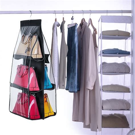 Handbag Hanger Closet by 6 Pocket Hanging Handbag Purse Bag Tidy Organizer Storage